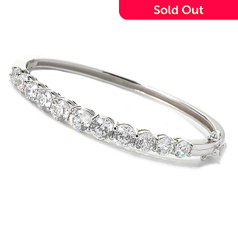 132-508 - Brilliante® 8.53 DEW 100-Facet Round Graduated Simulated Diamond Bangle Bracelet
