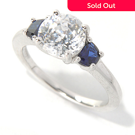 132-509 - Brilliante® Platinum Embraced™ 2.69 DEW 100-Facet Simulated Gemstone Three-Stone Ring