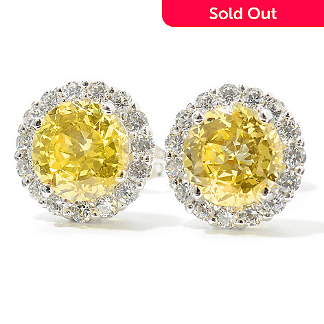 132-510 - Brilliante® Platinum Embraced™ 2.51 DEW 100-Facet Simulated Diamond Halo Stud Earrings