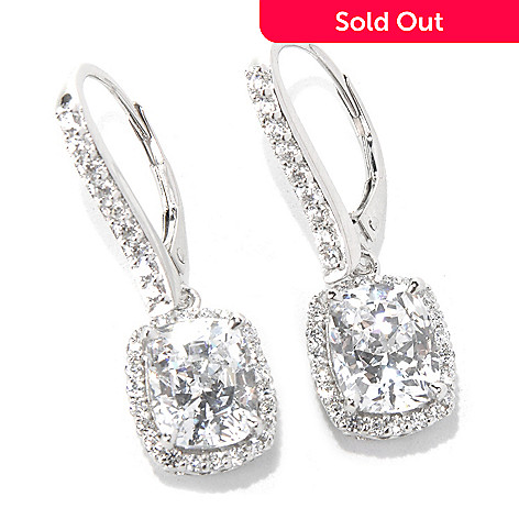 132-515 - Brilliante® 1.25'' Platinum Embraced™ 7.17 DEW Simulated Diamond Halo Dangle Earrings