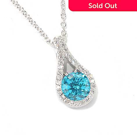 132-516 - Brilliante® Platinum Embraced™ 2.35 DEW 100-Facet Simulated Gemstone Halo Drop Pendant