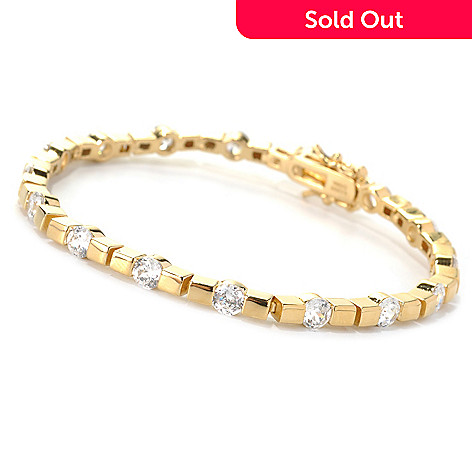 132-518 - Brilliante® Round Tension Set 100-Facet Simulated Diamond Line Bracelet