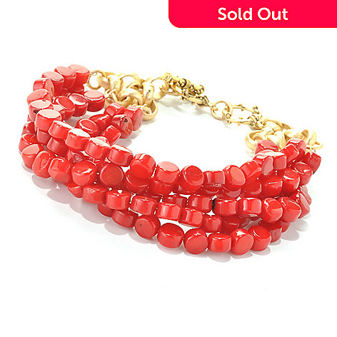 132-522 - mariechavez 7.75'' 6 x 4mm Dyed Red Coral Beaded Multi Strand Toggle Bracelet