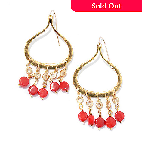 132-523 - mariechavez 2.25'' 6mm Dyed Red Coral Teardrop Shaped Chandelier Earrings
