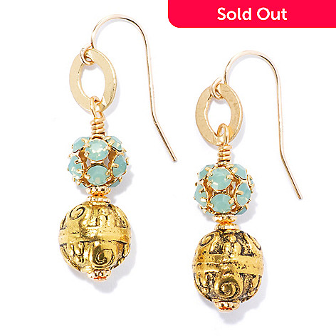 132-530 - mariechavez 1.5'' Textured Drop Earrings Made w/ Swarovski® Elements