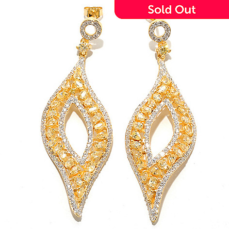 132-547 - Dare to Rare™ by Lucy 13.24 DEW Gold Embraced™ Simulated Diamond 2.5'' Drop Earrings