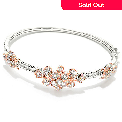 132-557 - Champenois® Two-tone 1.21 DEW Simulated Diamond Floral & Rope Design Bangle Bracelet