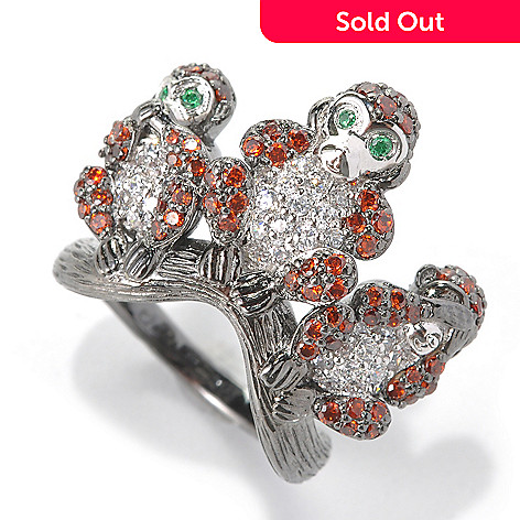 132-559 - Neda Behnam Simulated Diamond See No Evil Hear No Evil Speak No Evil Monkey Ring