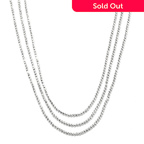 132-562 - Palatino™ Platinum Embraced™ 18'' Three-Strand Diamond Cut Bead Necklace