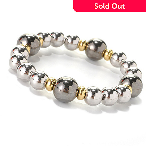 132-565 - Palatino™ Platinum Embraced™ Tri-color High Polished Bead Stretch Bracelet