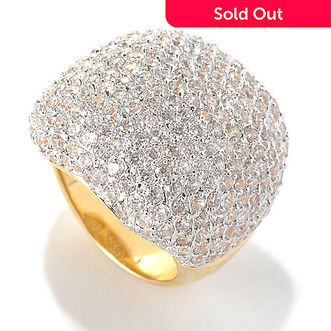 132-574 - Brilliante® 18K Gold Embraced™ 6.68 DEW Pave Simulated Diamond Square Dome Ring