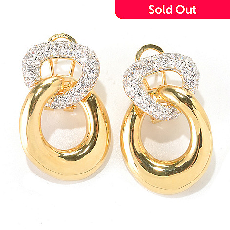 132-583 - Brilliante® Gold Embraced™ 1.25'' 2.24 DEW Pave Simulated Diamond Dangle Earrings