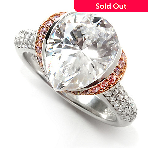132-592 - Brilliante® Two-tone 5.83 DEW Pink & White Simulated Diamond Pear Cut Ring