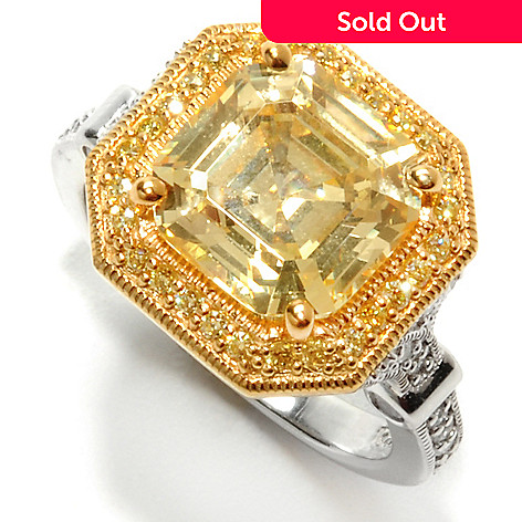 132-593 - Brilliante® Two-tone 4.78 DEW Asscher Cut Canary & White Simulated Diamond Halo Ring