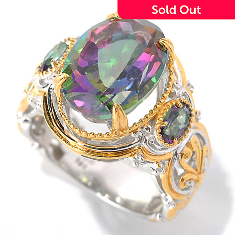 132-597 - Gems en Vogue 7.54ctw Oval Mystic Topaz Three-Stone Ring