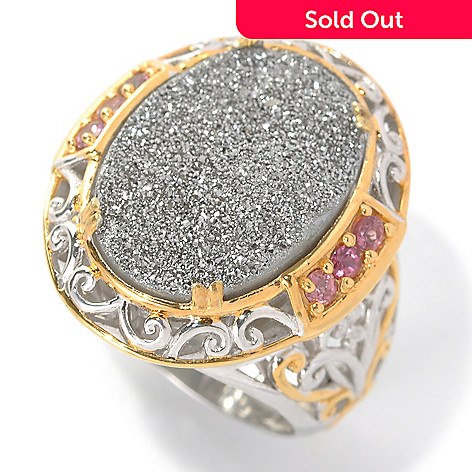 132-598 - Gems en Vogue 18 x 13mm Platinum Drusy & Pink Tourmaline Polished Ring