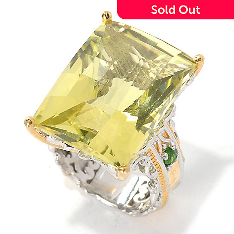 132-599 - Gems en Vogue 28.15ctw Ouro Verde & Chrome Diopside Hammered Ring