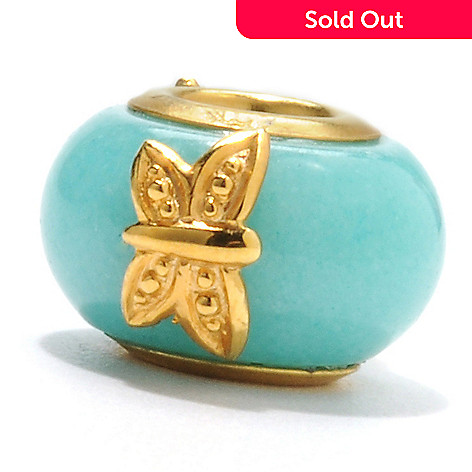 132-606 - Gems en Vogue II Amazonite Frog & Butterfly Slide-on Charm