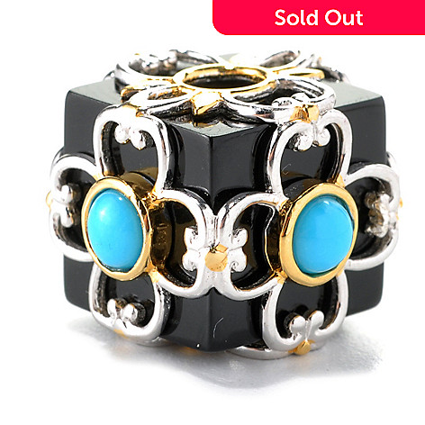 132-608 - Gems en Vogue II Black Onyx & Sleeping Beauty Turquoise Cube Slide-on Charm