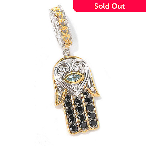 132-609 - Gems en Vogue Black Spinel & Swiss Blue Topaz Hamsa Drop Charm