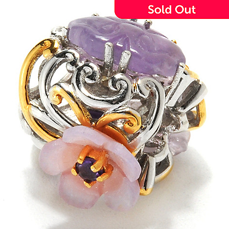132-611 - Gems en Vogue Carved Amethyst, Mother-of-Pearl & Pink Sapphire Flower Charm