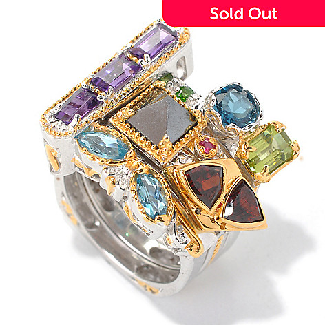 132-616 - Gems en Vogue Set of Four 5.22ctw Multi Gemstone ''Vegas Stack II'' Rings