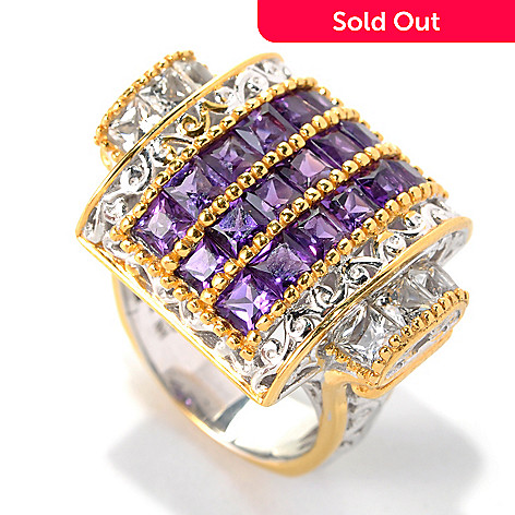132-618 - Gems en Vogue 3.42ctw Princess Cut African Amethyst & White Topaz Ring