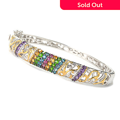 132-621 - Gems en Vogue Multi Gemstone Diagonal Row Hinged Bangle Bracelet
