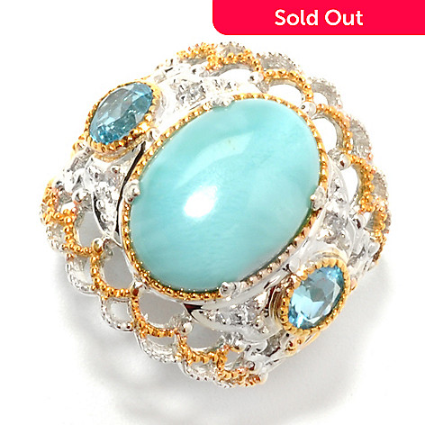 132-626 - Gems en Vogue 14 x 10mm Oval Larimar, Swiss Blue Topaz & White Sapphire Ring