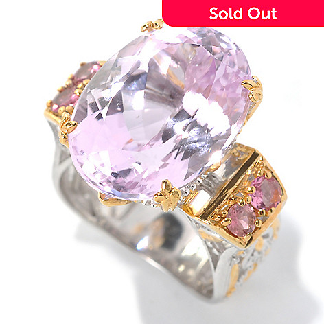 132-628 - Gems en Vogue II 14.80ctw Kunzite, Pink Tourmaline & White Sapphire Polished Ring