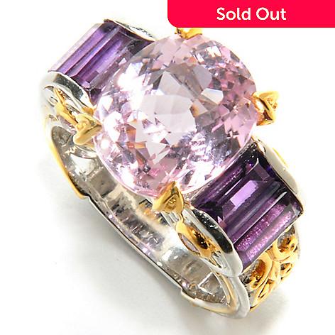 132-629 - Gems en Vogue 7.40ctw Kunzite, Baguette Amethyst & Pink Sapphire Polished Ring