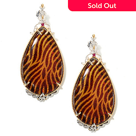 132-632 - Gems en Vogue 2.25'' Carved Amber Animal Print Intaglio & Ruby Teardrop Earrings