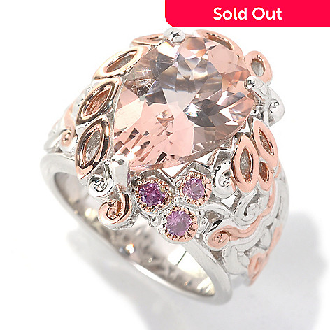 132-633 - Gems en Vogue 5.36ctw Pear Shaped Morganite & Pink Sapphire Ring