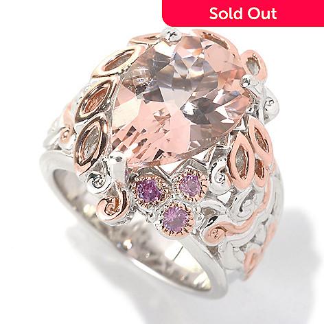 132-633 - Gems en Vogue 5.36ctw Pear Shaped Morganite & Pink Sapphire Ring