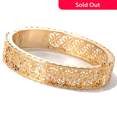 132-639 - Italian Designs with Stefano 14K Gold 7'' ''Ricami Regina'' Bangle Bracelet