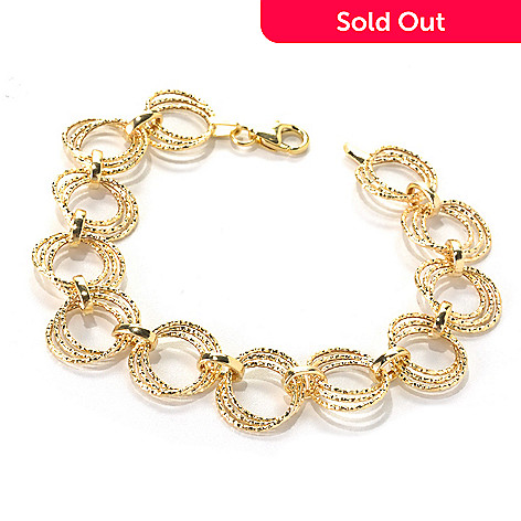 132-641 - Italian Designs with Stefano 14K Gold 7.5'' Diamond Cut Link Bracelet