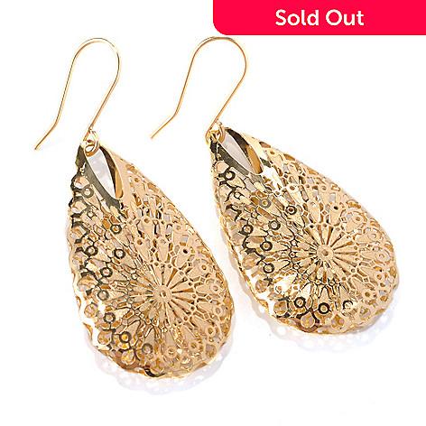 132-642 - Italian Designs with Stefano 14K Gold 1.75'' Ricami Teardrop Earrings