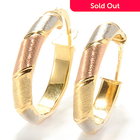 132-646 - Stefano Oro 14K Tri-tone Gold Alternate Pattern Hoop Earrings