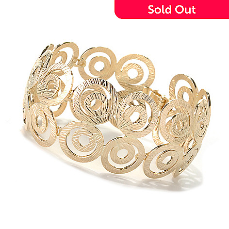 132-648 -  Italian Designs with Stefano 14K Gold 7.25'' Cesello Florentino Bracelet, 18.09 grams