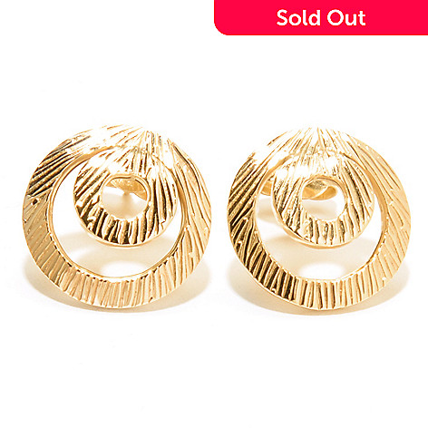 132-649 - Italian Designs with Stefano 14K Gold ''Cesello Florinto'' Button Earrings