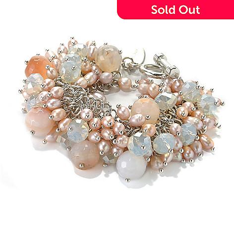 132-652 - Sara Nicole 7.75'' Cultured Pearl, Carnelian, & Crystal Bead Toggle Bracelet w/ Extender