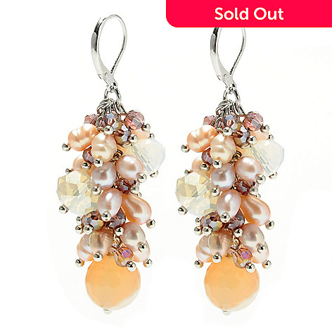 132-653 - Sara Nicole 2.25'' Cultured Pearl, Carnelian & Crystal Bead Dangle Earrings