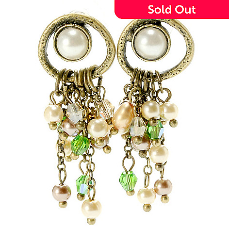 132-655 - Sara Nicole 1.5'' Simulated Pearl, Crystal & Glass Bead Drop Earrings