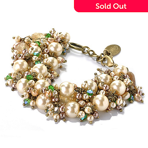 132-656 - Sara Nicole 7.75'' Simulated Pearl, Rutilated Quartz, Crystal & Glass Bead Bracelet