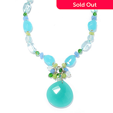 132-657 - Sara Nicole 36.5'' Shades of Blue Crystal & Glass Toggle Necklace