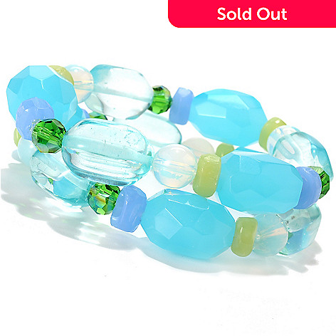 132-659 - Sara Nicole Set of Two 6.75'' Shades of Blue Glass & Crystal Stretch Bracelets