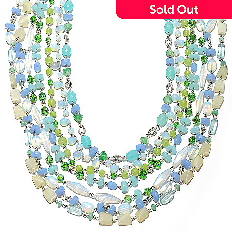 132-660 - Sara Nicole 23.5'' Multi Blue Crystal & Glass Beaded Seven-Strand Staggered Necklace
