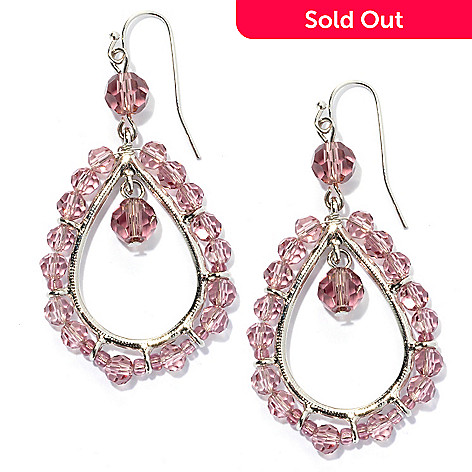 132-664 - Sara Nicole 2.25'' Crystal Open Teardrop Bead Earrings