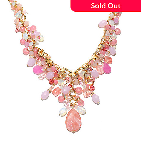 132-666 - Sara Nicole 17'' Shades of Pink Crystal & Glass Twisted Oval Link Drop Necklace