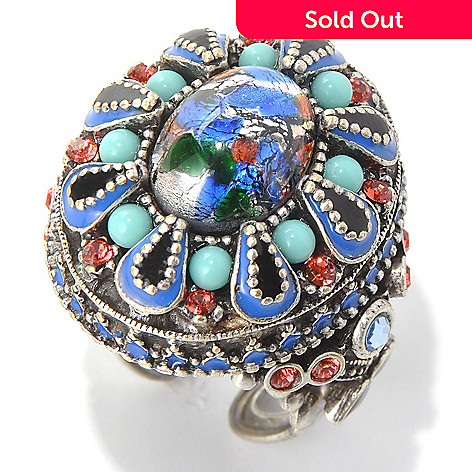 132-671 - Sweet Romance Glass Bead & Crystal Fortune Teller Ring